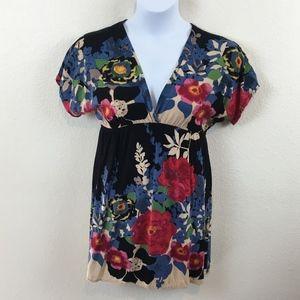 Angie Size Medium Empire Waist Boho Floral Tunic